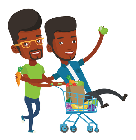 mujer en el supermercado: Happy african-american man pushing a shopping trolley with his friend. Young carefree friends having fun while riding by shopping trolley. Vector flat design illustration isolated on white background.