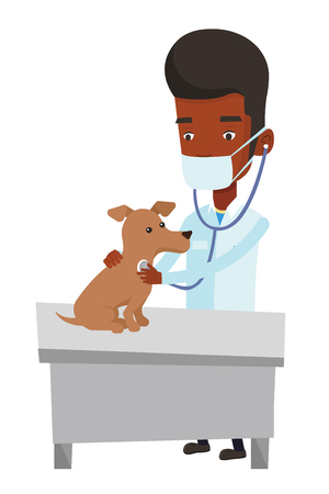 African veterinarian examining dog in hospital. Veterinarian checking heartbeat of a dog with stethoscope. Medicine and pet care concept. Vector flat design illustration isolated on white background