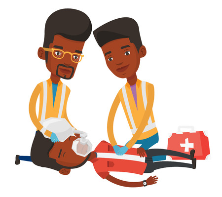 man: African paramedics doing cardiopulmonary resuscitation of a man. Team of emergency doctors during process of resuscitation of injured man. Vector flat design illustration isolated on white background.