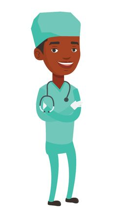 African-american surgeon standing with arms crossed. Young confident surgeon in medical uniform. Happy surgeon with stethoscope on neck. Vector flat design illustration isolated on white background.