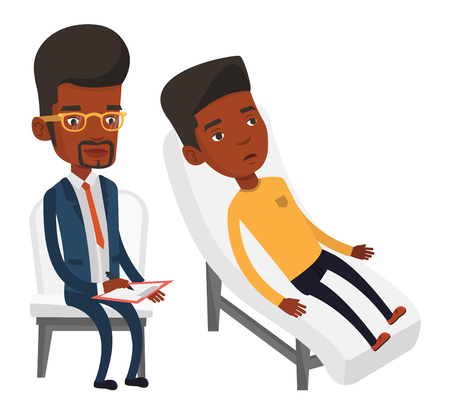 Young african patient lying on sofa and talking about problems with psychologist. Psychologist having session with patient in depression. Vector flat design illustration isolated on white background.