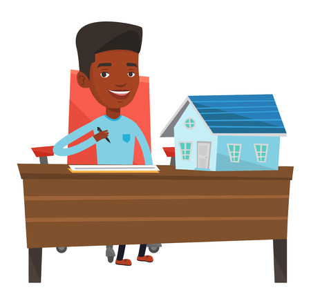 signing agent: Real estate agent signing home purchase contract. Real estate agent working in office with house model and home purchase contract on table. Vector flat design illustration isolated on white background Illustration