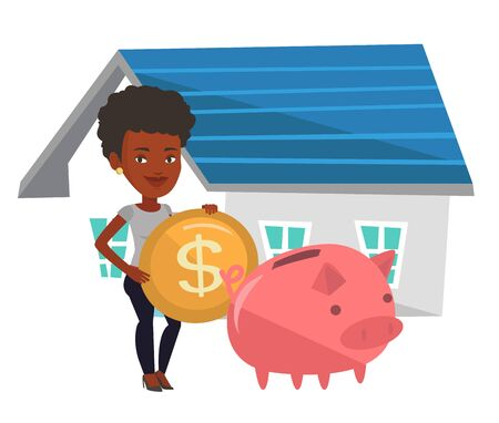 Young african-american house owner putting dollar coin in piggy bank on the background of house. Woman investing money in real estate. Vector flat design illustration isolated on white background. Illustration