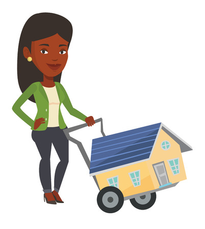African-american woman pushing a shopping trolley with a house. Young woman buying home. Woman using shopping trolley to transport a house. Vector flat design illustration isolated on white background
