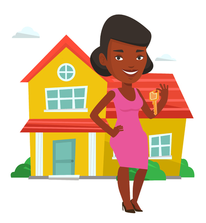 African new house owner with keys. Young real estate agent holding keys. Real estate agent with keys standing on the background of house. Vector flat design illustration isolated on white background.