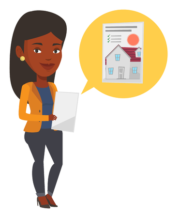 Mujer joven afroamericana mirando la foto de la casa en una computadora de la tableta. Mujer que busca una casa apropiada en una computadora de la tableta. Vector ilustración de diseño plano aislado sobre fondo blanco. Ilustración de vector