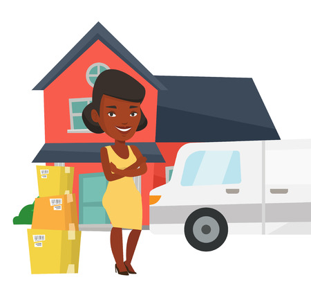 African-american homeowner unloading cardboard boxes from truck. Homeowner standing in front of new home. New homeowner moving to a house. Vector flat design illustration isolated on white background. Illusztráció