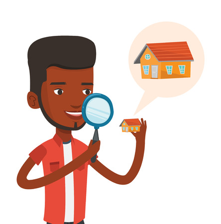 African man looking for a new house in real estate market. Young man using a magnifying glass for seeking new house in real estate market. Vector flat design illustration isolated on white background.