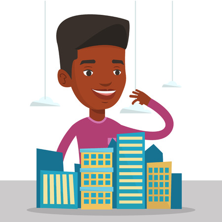 African-american real estate agent presenting a model of city. Sales manager working with a project of a new modern district of the city. Vector flat design illustration isolated on white background.  イラスト・ベクター素材