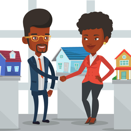 Young african realtor shaking hand to customer after real estate deal in office. Conclusion of real estate deal between realtor and buyer. Vector flat design illustration isolated on white background.  イラスト・ベクター素材