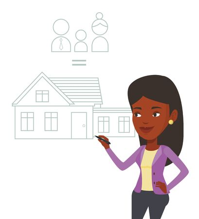 African-american woman drawing family house. Woman drawing a house with a family. Woman dreaming about future life in a new family house. Vector flat design illustration isolated on white background.