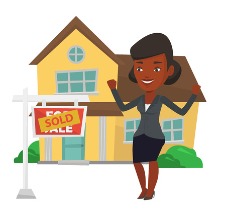 house for sale: Excited african-american real estate agent standing in front of sold real estate placard and house. Happy real estate agent sold a house. Vector flat design illustration isolated on white background.