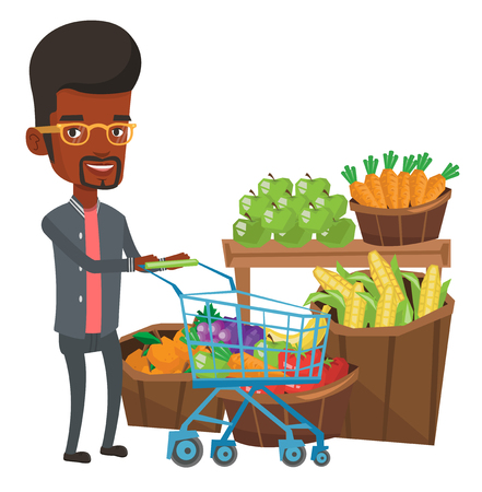 African-american man pushing a supermarket cart with some products. Man shopping at supermarket with cart. Man buying healthy products. Vector flat design illustration isolated on white background. Illustration