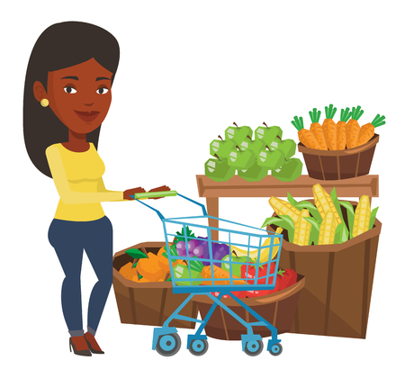 mujer en el supermercado: African-american woman pushing supermarket cart with some products. Woman shopping at supermarket with cart. Woman buying healthy products. Vector flat design illustration isolated on white background