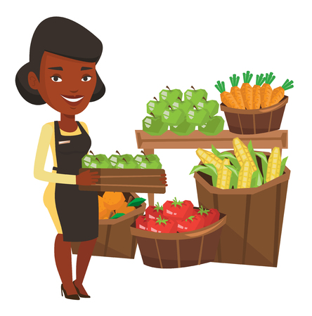mujer en el supermercado: African worker of grocery store standing in front of section with vegetables and fruits. Worker of grocery store holding a box with apples. Vector flat design illustration isolated on white background