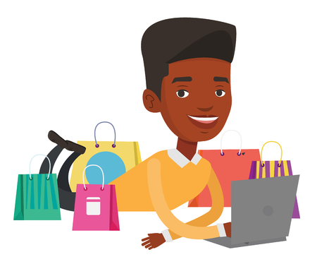 African-american man using laptop for online shopping. Man lying with laptop and making online shopping order. Man doing online shopping. Vector flat design illustration isolated on white background. Illustration