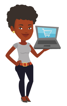 African-american woman using laptop for online shopping. Woman holding laptop with shopping trolley on screen. Woman doing online shopping. Vector flat design illustration isolated on white background
