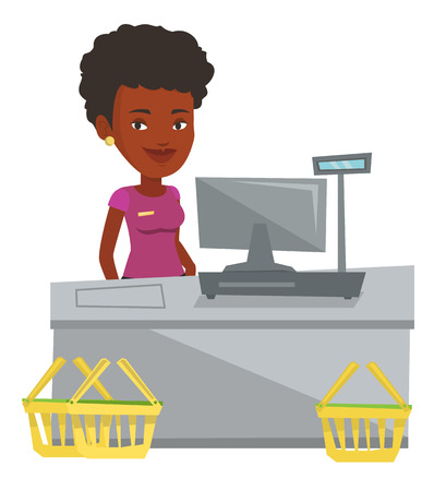 checkout: Cashier standing at the checkout in supermarket. Cashier working at checkout in a supermarket. Cashier standing near the cash register. Vector flat design illustration isolated on white background.