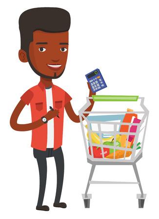Joven hombre africano de pie cerca de la carretilla de supermercado con la calculadora en la mano. Hombre comprobar los precios en la calculadora. Hombre que cuenta con la calculadora. Ilustración vectorial de diseño plano aislado sobre fondo blanco