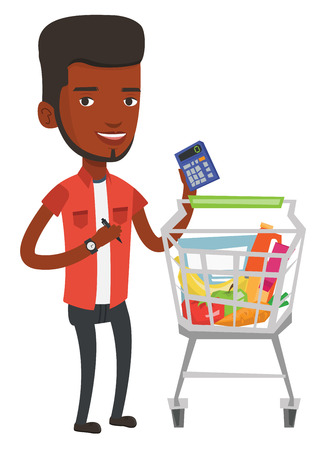 mujer en el supermercado: Young african man standing near supermarket trolley with calculator in hand. Man checking prices on calculator. Man counting on calculator. Vector flat design illustration isolated on white background Vectores