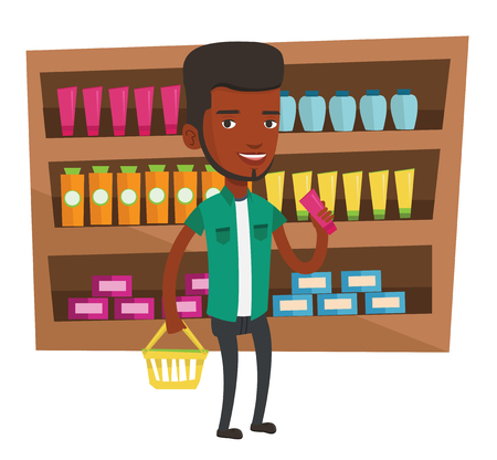 mujer en el supermercado: African-american customer shopping at supermarket with basket. Customer holding shopping basket in one hand and tube of cream in another. Vector flat design illustration isolated on white background.