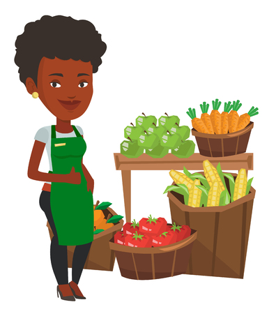 African-american supermarket worker giving thumb up. Supermarket worker standing on the background of shelves with vegetables and fruits. Vector flat design illustration isolated on white background. 向量圖像