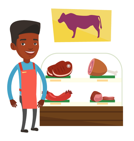 African-american butcher offering meat in butchery. Friendly butcher at work in butchery. Butcher standing on the background of storefront. Vector flat design illustration isolated on white background Illustration