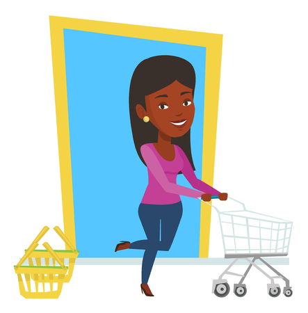 mujer en el supermercado: African woman pushing shopping trolley. Woman rushing to shopping with trolley. Woman with empty shopping trolley running into the shop. Vector flat design illustration isolated on white background.