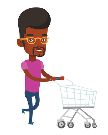 mujer en el supermercado: African-american man pushing shopping trolley. Young man rushing to shopping with trolley. Smiling man running with empty shopping trolley. Vector flat design illustration isolated on white background Vectores
