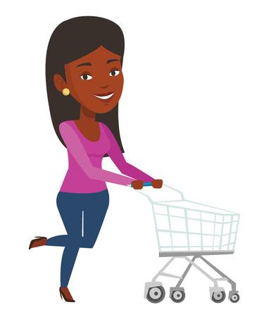 mujer en el supermercado: Mujer afroamericana empujando carrito de compras. Mujer que se apresura a las compras con la carretilla. Mujer sonriente que se ejecuta con la carretilla vacía de las compras. Ilustración vectorial de diseño plano aislado sobre fondo blanco Vectores