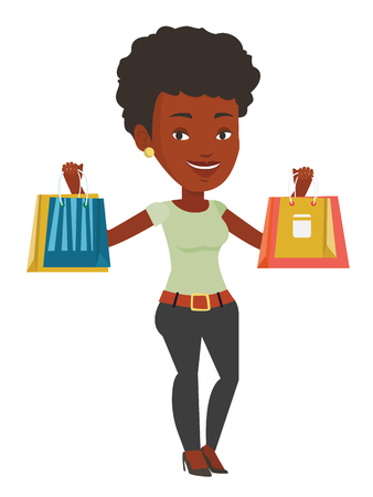 African woman carrying shopping bags. Woman holding shopping bags. Girl standing with a lot of shopping bags. Girl showing her purchases. Vector flat design illustration isolated on white background.