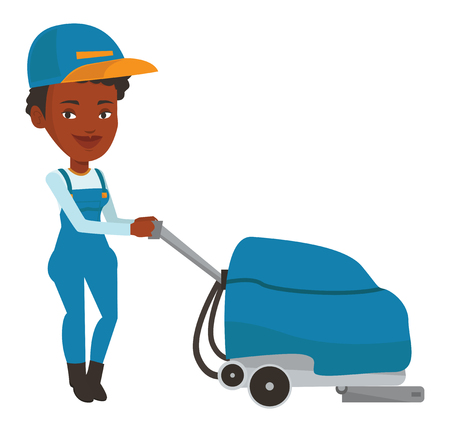 mujer en el supermercado: African-american worker of cleaning services in supermarket. Young woman cleaning supermarket floor. Woman working with cleaning machine. Vector flat design illustration isolated on white background. Vectores