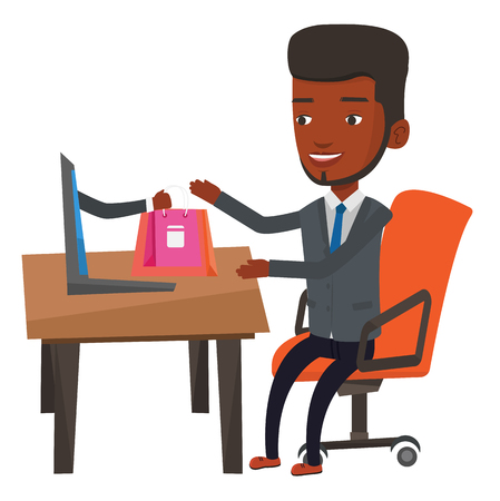 Cheerful african-american man using laptop for online shopping. Young man shopping online. Smiling man making online order in virtual shop. Vector flat design illustration isolated on white background
