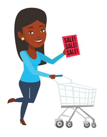 Woman running on big sale. Woman holding paper sheet with sale text. Woman with shopping trolley running in a hurry to the store on sale. Vector flat design illustration isolated on white background. Vectores