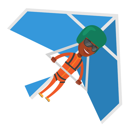African-american man flying on hang-glider. Sportsman taking part in hang gliding competition. Man having fun while gliding on delta-plane. Vector flat design illustration isolated on white background