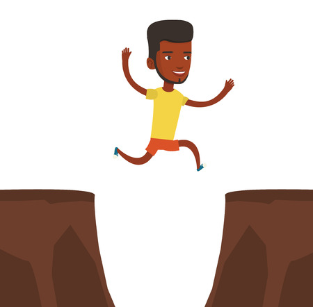 African-american sportsman jumping across the gap from one rock to another. Sportsman jumping over rocks with gap. Young sportsman running. Vector flat design illustration isolated on white background