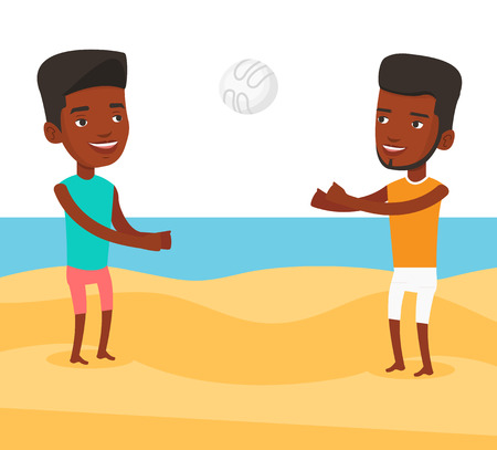 African-american man playing beach volleyball with his friend. Two men having fun while playing beach volleyball during summer holiday. Vector flat design illustration isolated on white background. Ilustração