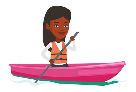 Woman riding in kayak vector illustration. Illustration