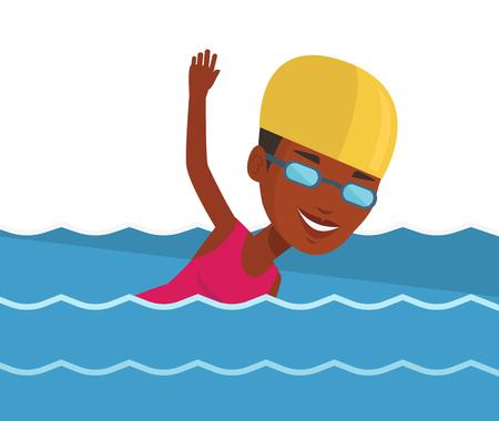 Woman swimming vector illustration.