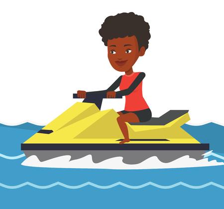 African-american woman training on jet ski in sea.