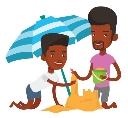 young black man: Friends building sandcastle on beach.