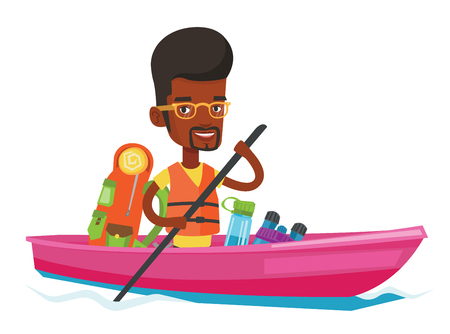 paddles: Man riding in kayak vector illustration.