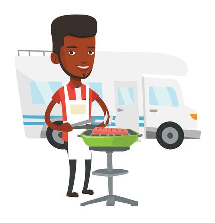 Man having barbecue in front of camper van. Illustration