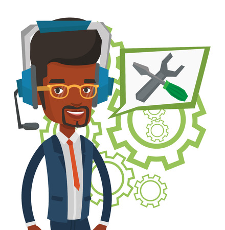 Technical support operator vector illustration. Vectores