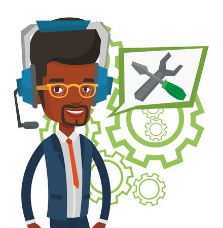 Technical support operator vector illustration. 向量圖像