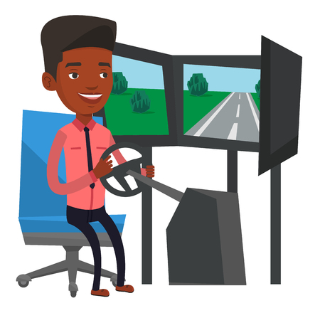 Man playing video game with gaming wheel. Illustration