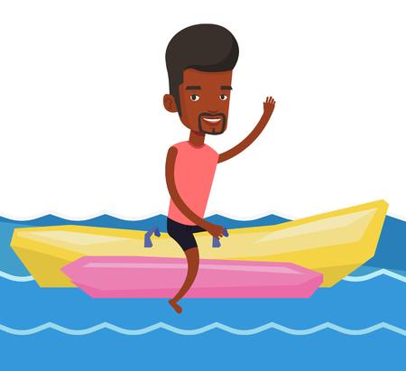 Tourists riding a banana boat vector illustration.