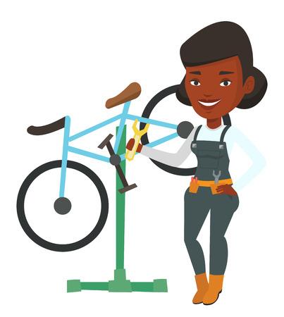 アフリカの自転車整備士の修理店で働きます。