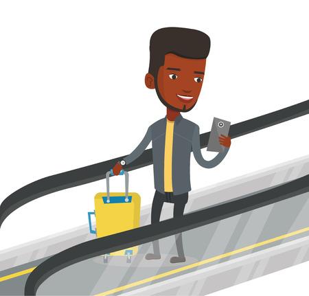 공항에서 에스컬레이터에 스마트 폰을 사용하는 사람 (남자).