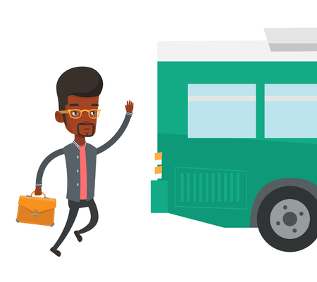 Latecomer man running for the bus. Illustration